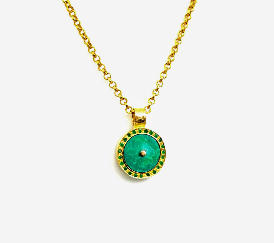 TURQUOISE EMERALD SIGNATURE GOLD NECKLACE