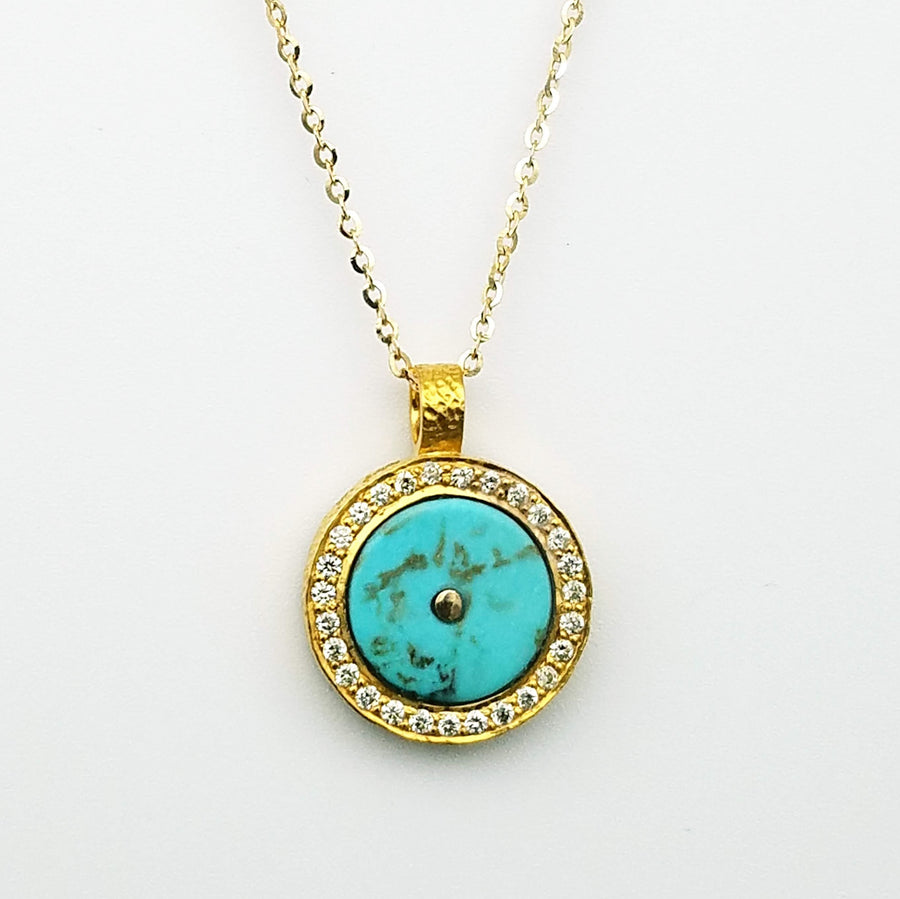 TURQUOISE PAVE DIAMONDS SIGNATURE NECKLACE SONIA TONKIN