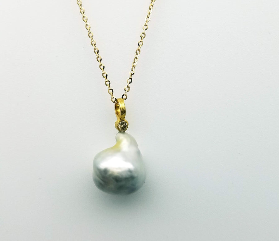 BRILLIANT DIAMOND NATURAL PEARL NECKLACE SONIA TONKIN