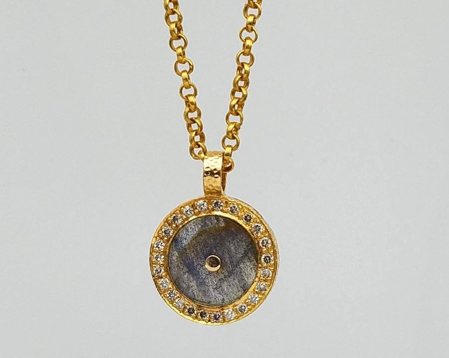 PAVE DIAMONDS MOONSTONE SIGNATURE GOLD NECKLACE