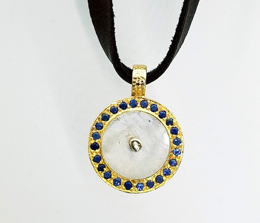 SUN ON LEATHER PAVE DIAMONDS NECKLACE
