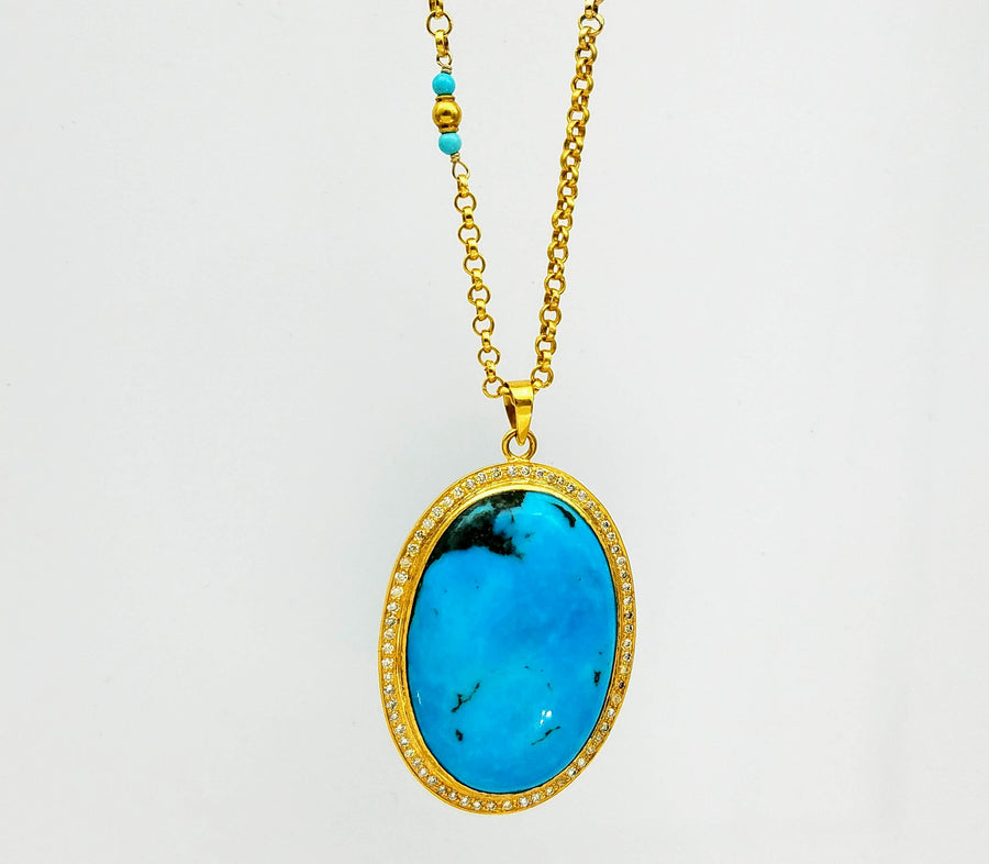 TURQUOISE PAVE DIAMONDS NECKLACE SONIA TONKIN