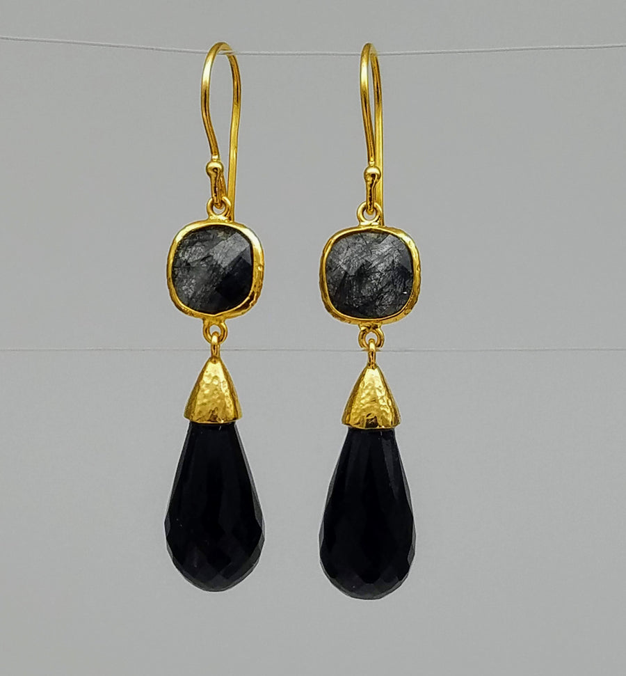 RUTILATED QUARTZ BLACK SPINEL EARRINGS