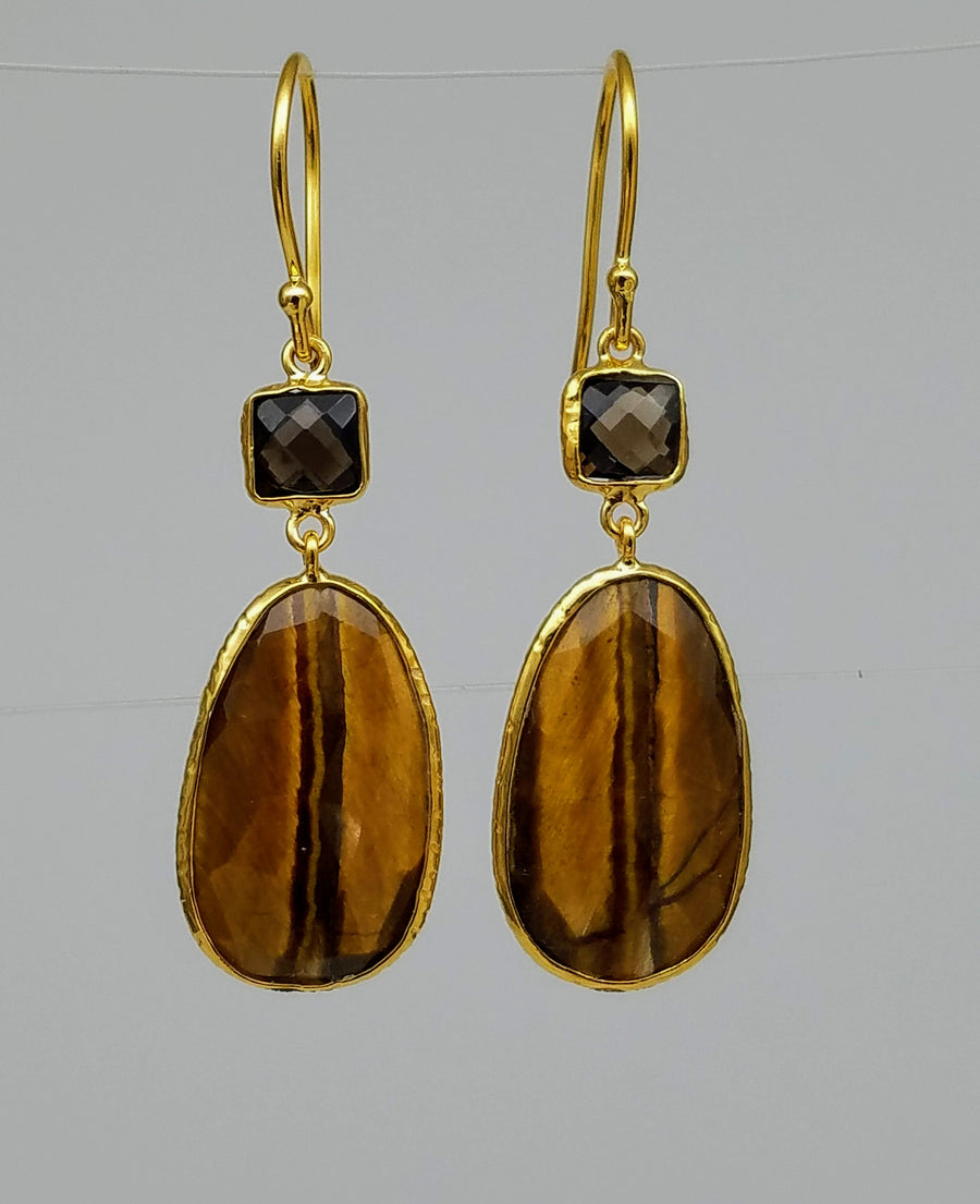 SMOKEY TOPAZ TIGER EYE EARRINGS