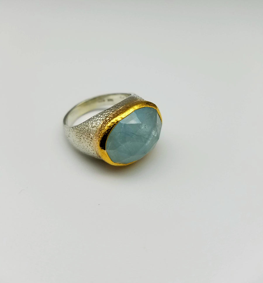 AQUAMARINE GOLD MIO RING