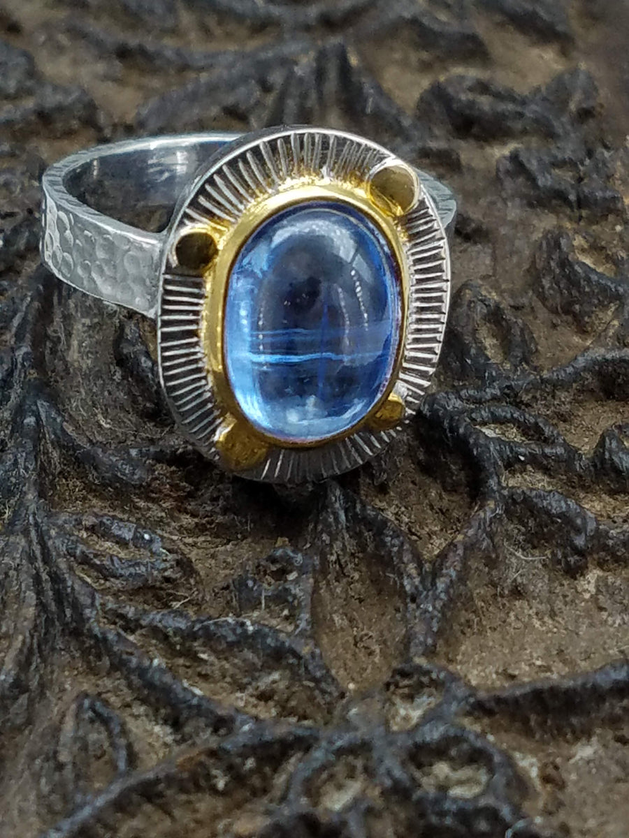 KYANITE GOLD DOTS RING