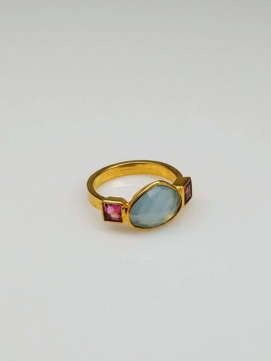 AQUAMARINE TOURMALINE RING