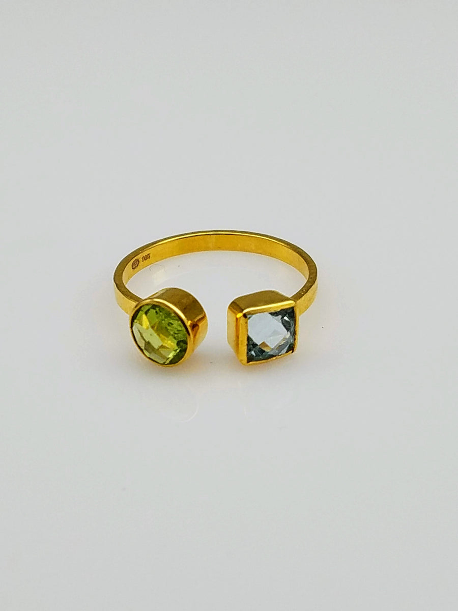 GEMSTONE GOLD OPEN RING