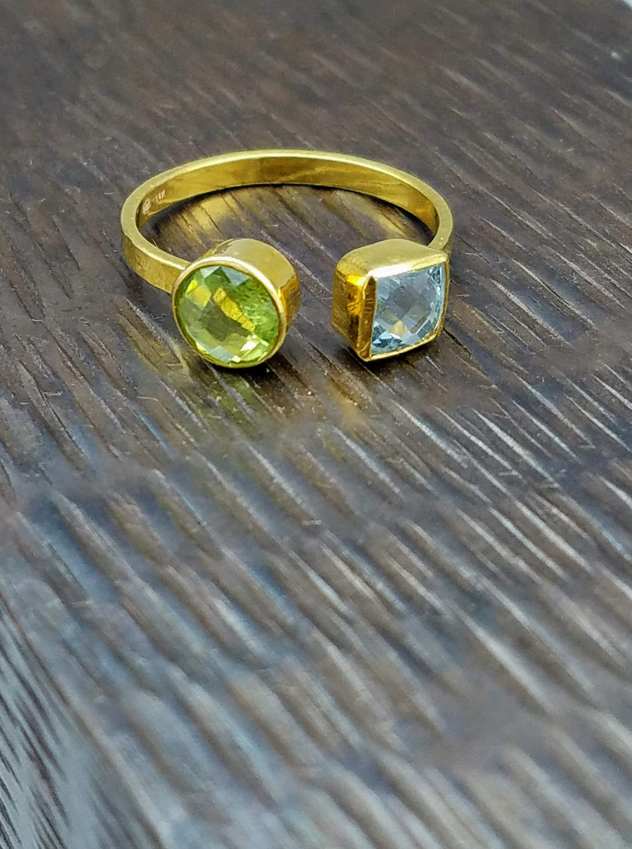 PERIDOT BLUE TOPAZ OPEN RING