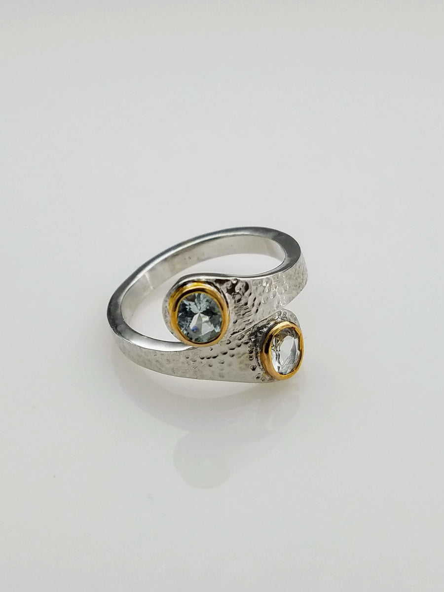 AQUAMARINE MIXED METALS RING