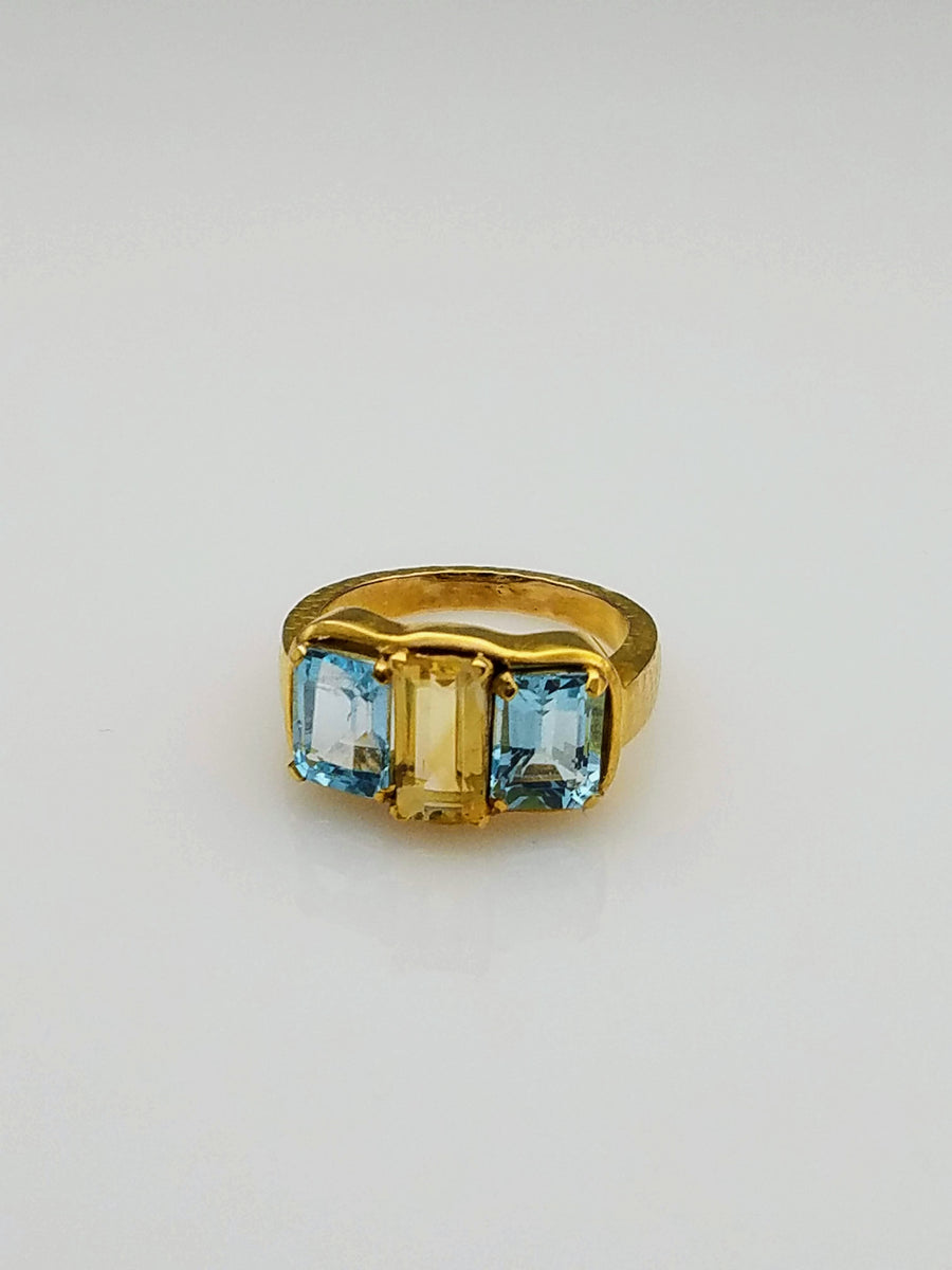 BLUE TOPAZ CITRINE RING
