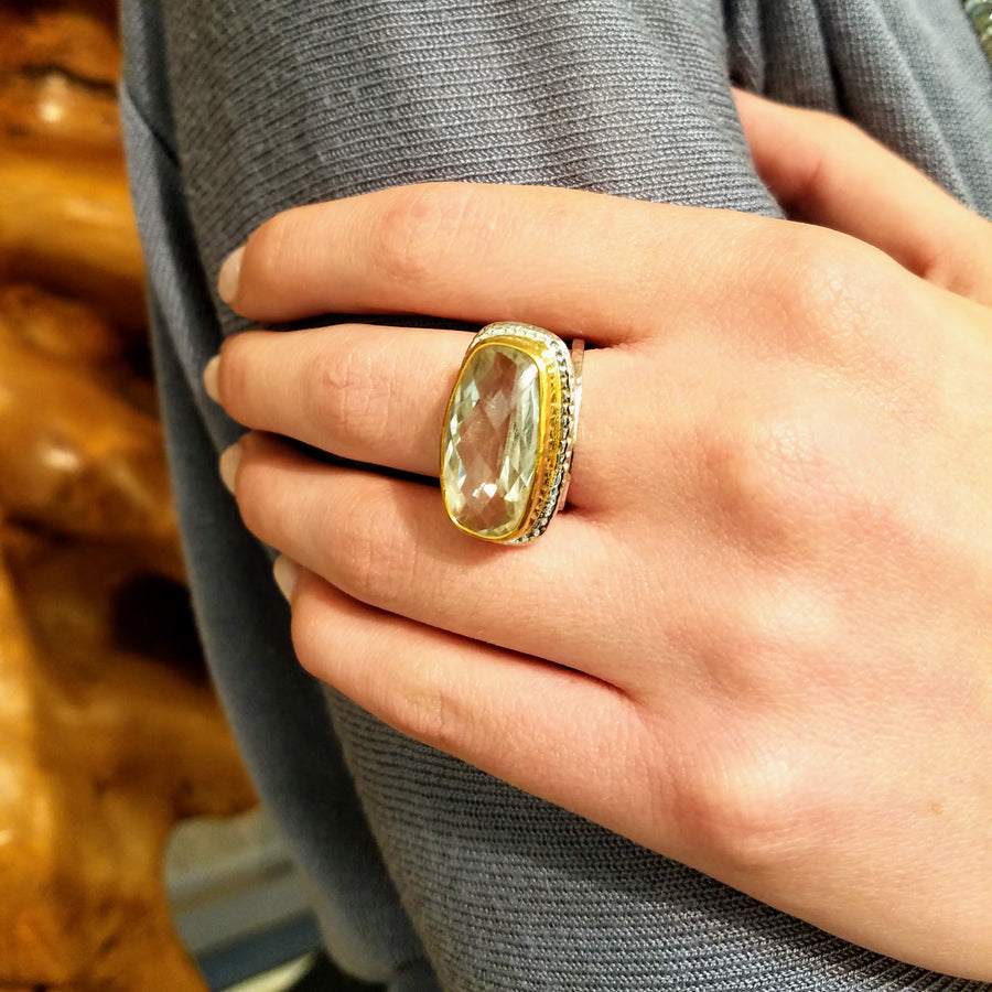 GREEN AMETHYST MIXED RING