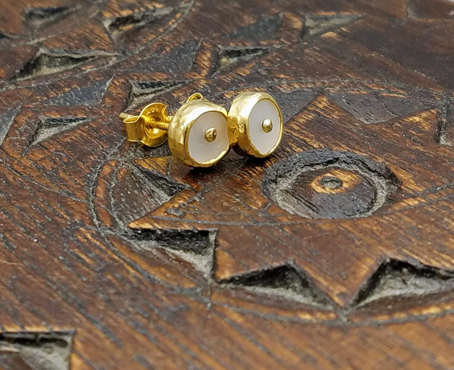 MOONSTONE SUN GOLD POST EARRINGS