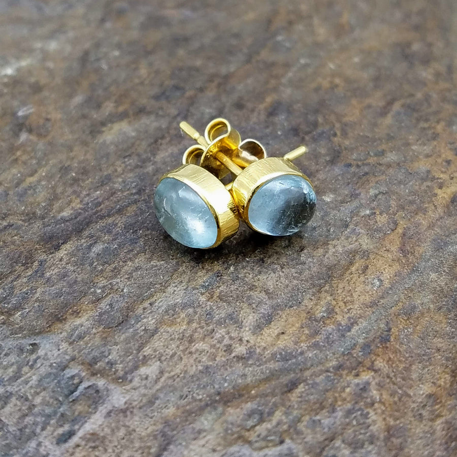 AQUAMARINE GOLD POST EARRINGS