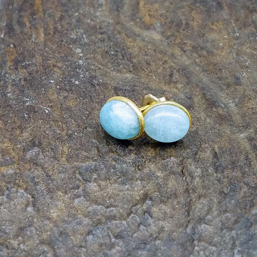 AMAZONITE GOLD POST EARRINGS