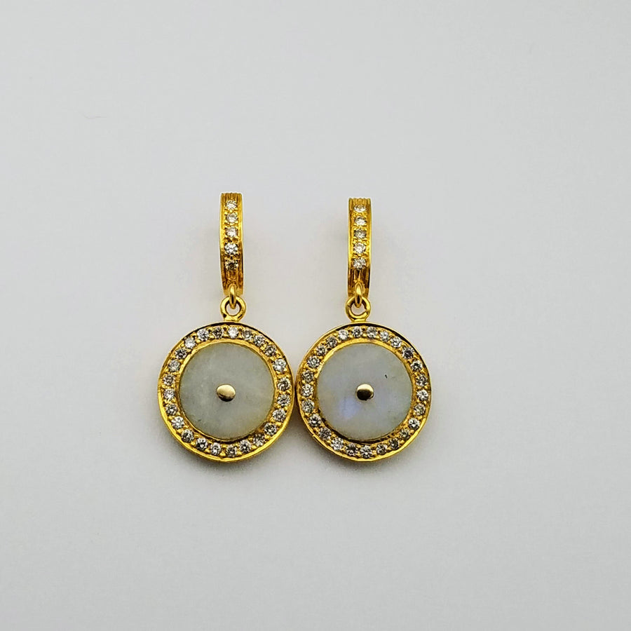 MOONSTONE DIAMONDS SIGNATURE GOLD EARRINGS