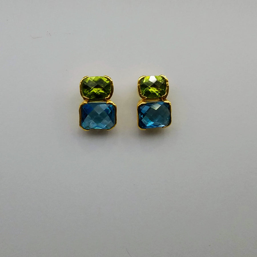 PERIDOT APATITE  GOLD POST EARRINGS