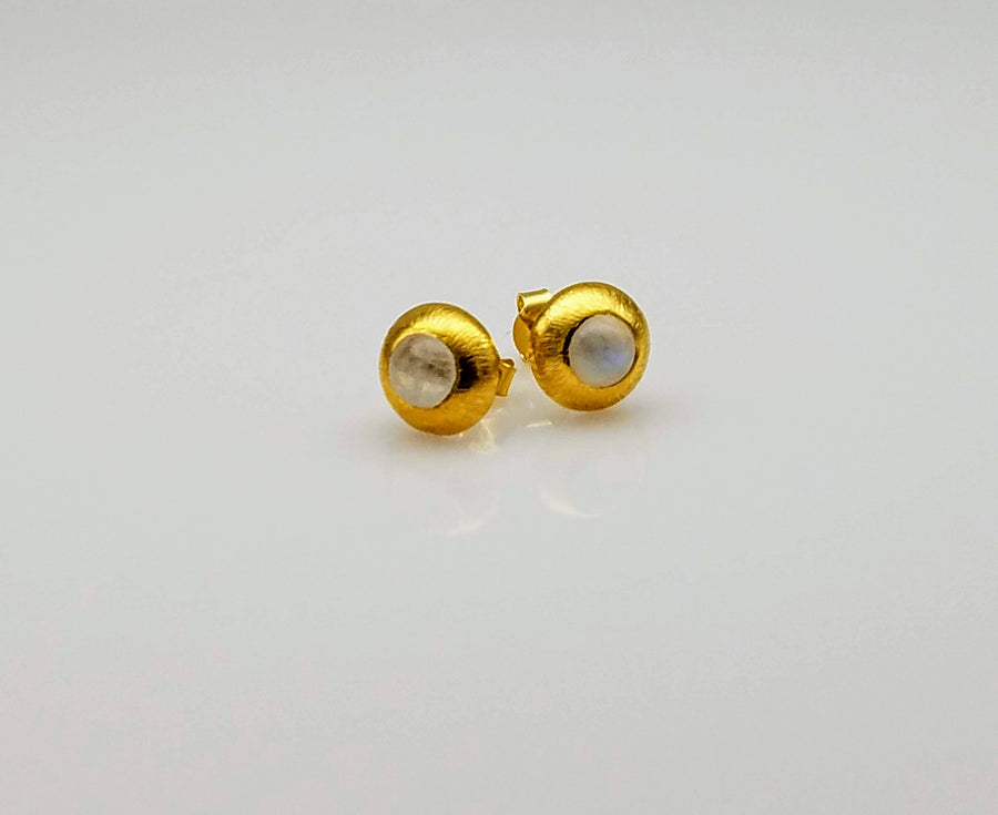 MOONSTONE GOLD POST EARRINGS