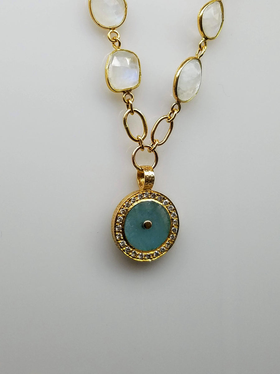 AQUAMARINE DIAMONDS MOONSTONE GOLD NECKLACE SONIA TONKIN