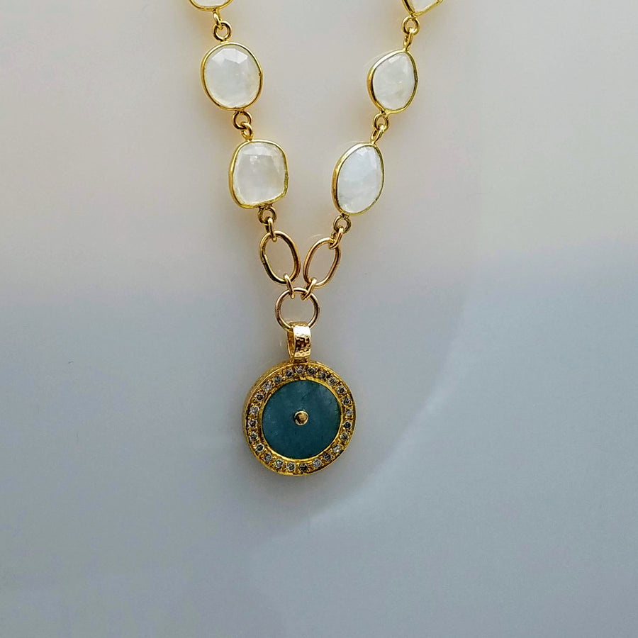 AQUAMARINE DIAMONDS MOONSTONE GOLD NECKLACE