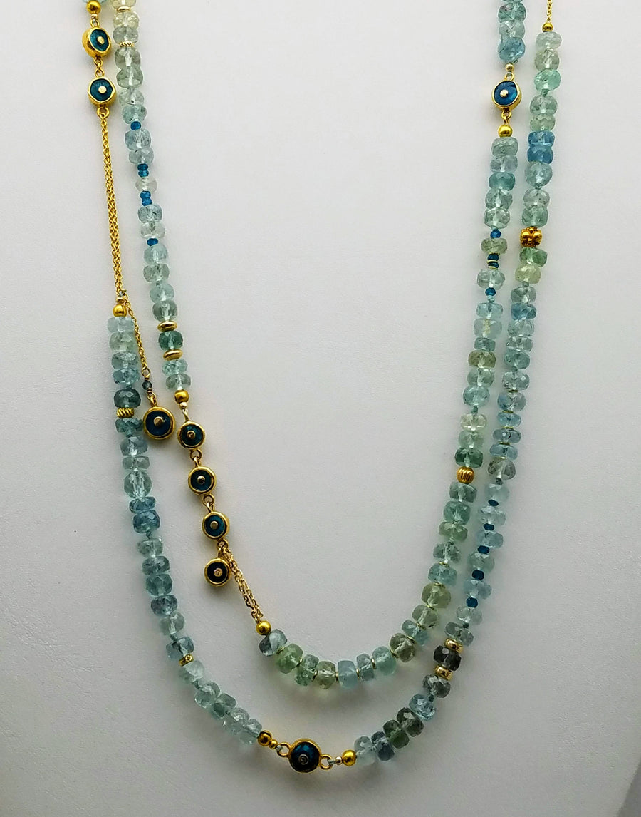 LONG AQUAMARINE BEADED GOLD NECKLACE