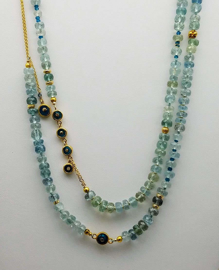 LONG AQUAMARINE BEADED GOLD NECKLACE SONIA TONKIN