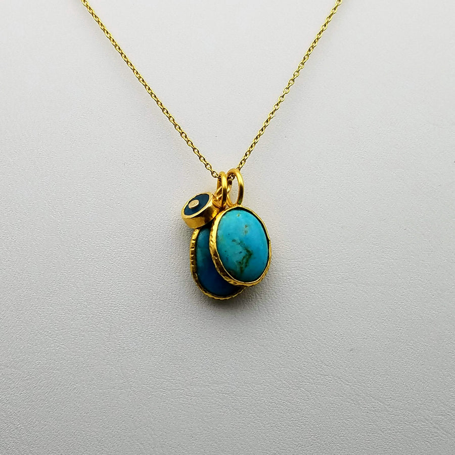 TURQUOISE APATITE CHARMS GOLD NECKLACE