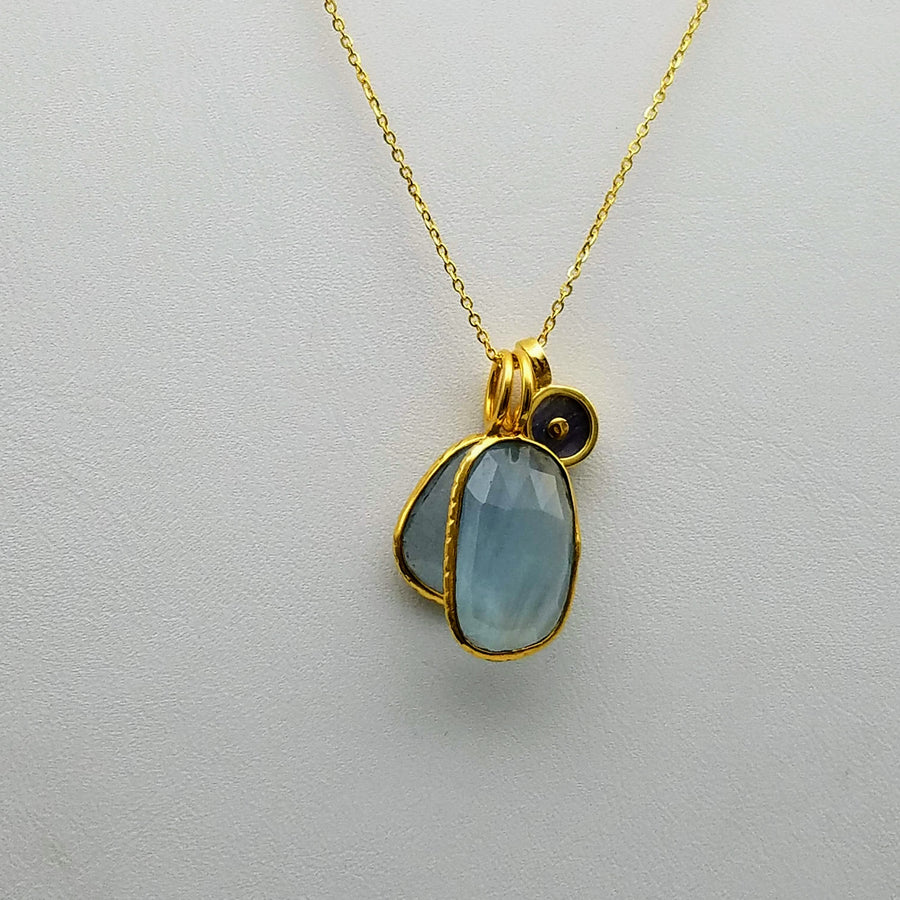 DOUBLE AQUAMARINE LAPIZ  GOLD NECKLACE
