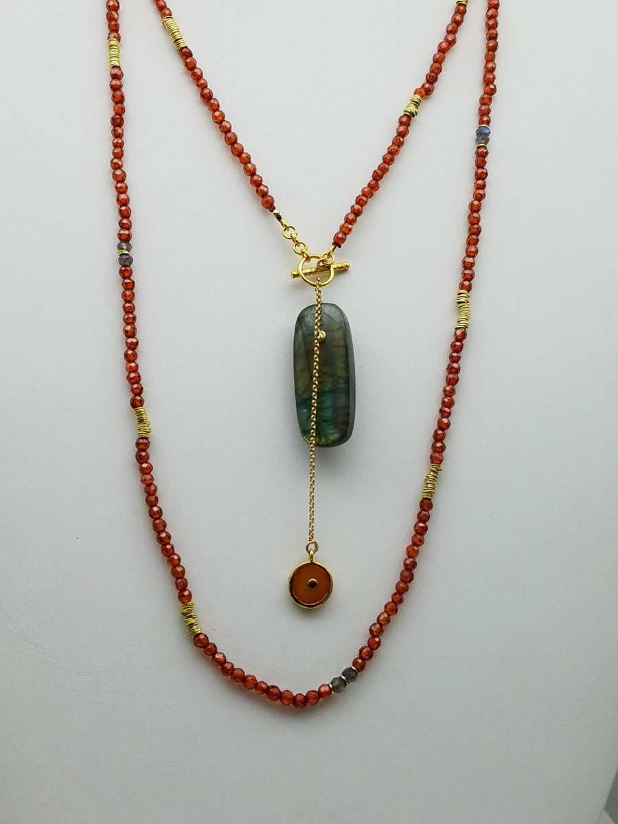LABRADORITE  CARNELIAN LONG BEADED NECKLACE