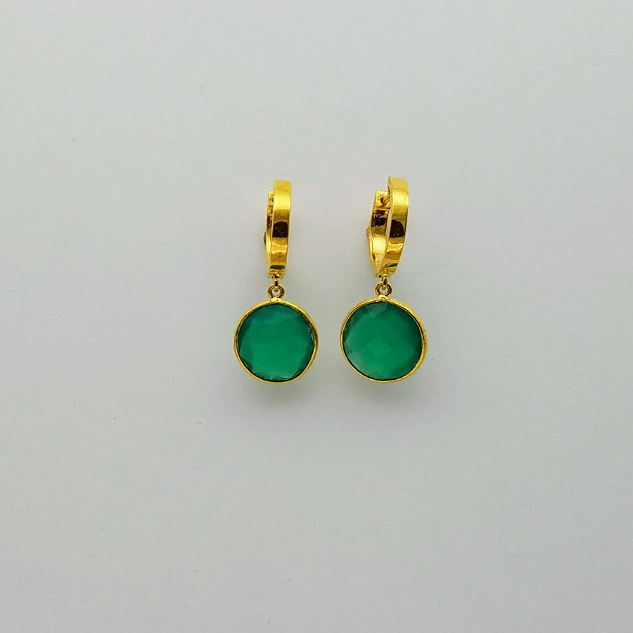 GREEN ONYX MINI HOOPS EARRINGS
