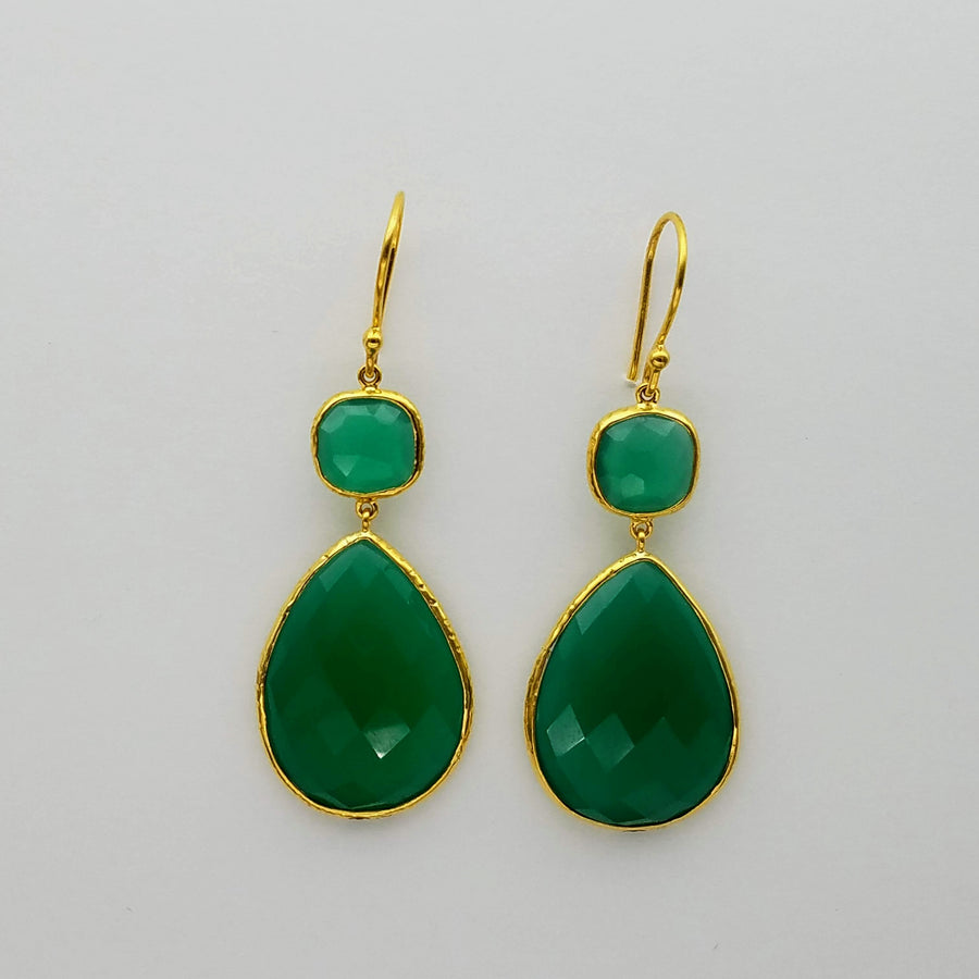 GREEN ONYX GOLD EARRINGS SONIA TONKIN