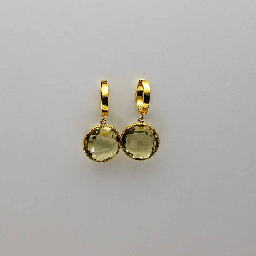 GREEN AMETHYST MINI HOOPS EARRINGS