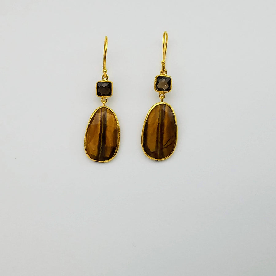 SMOKEY TOPAZ TIGER EYE EARRINGS SONIA TONKIN