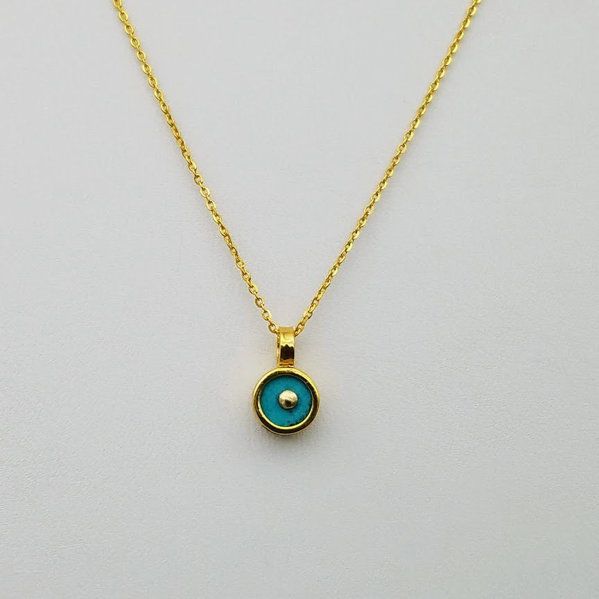 SINGLE SUN TURQUOISE GOLD NECKLACE
