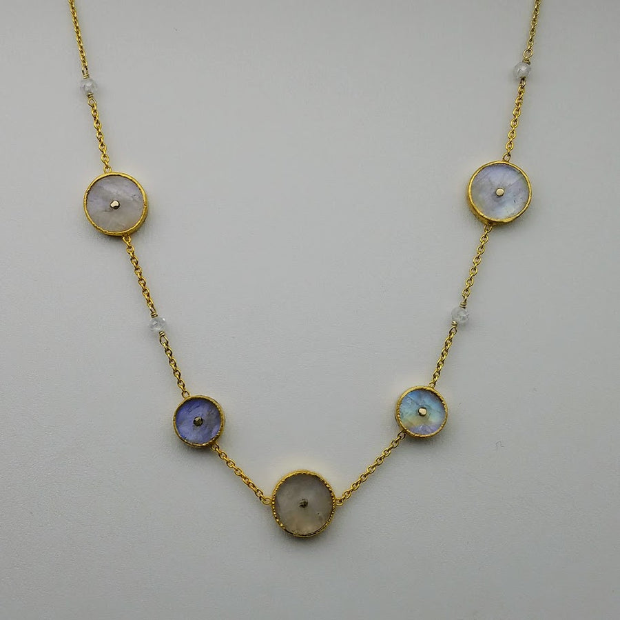 SUN CHOKER MOONSTONE  GOLD NECKLACE SONIA TONKIN