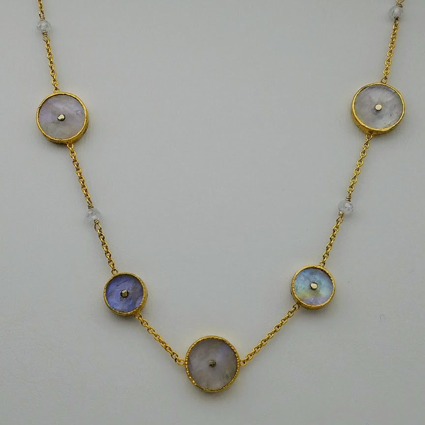 SUN CHOKER MOONSTONE  GOLD NECKLACE