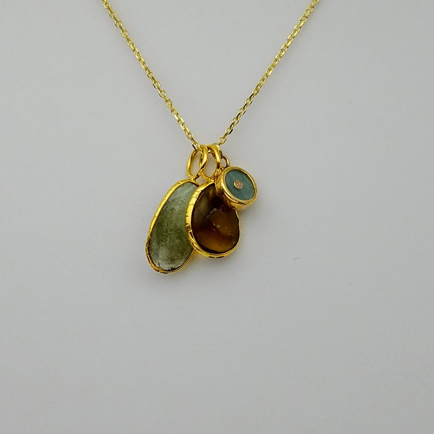 MIX GEMS TRIO GOLD NECKLACE