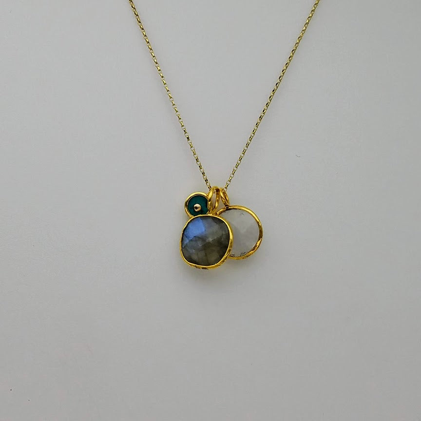 LABRADORITE MOONSTONE TRIO GOLD NECKLACE