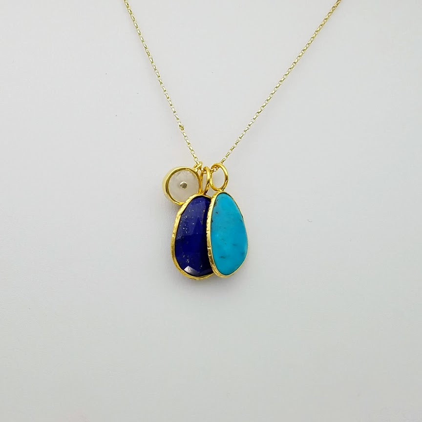 LAPIZ TURQUOISE TRIO GOLD NECKLACE