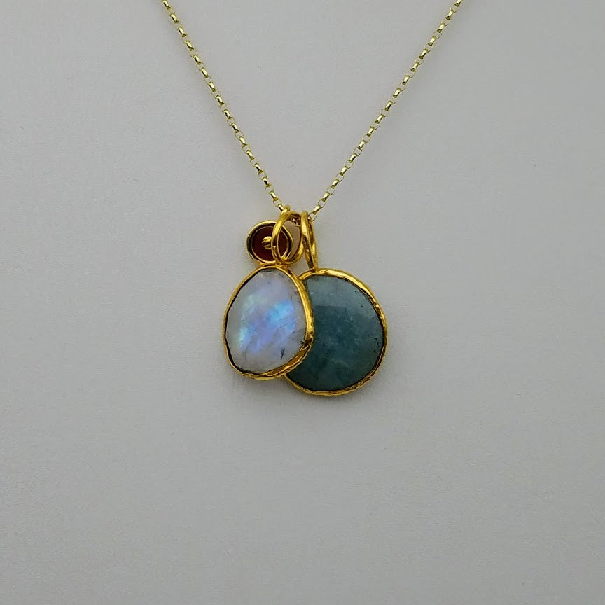 AQUAMARINE MOONSTONE TRIO GOLD NECKLACE