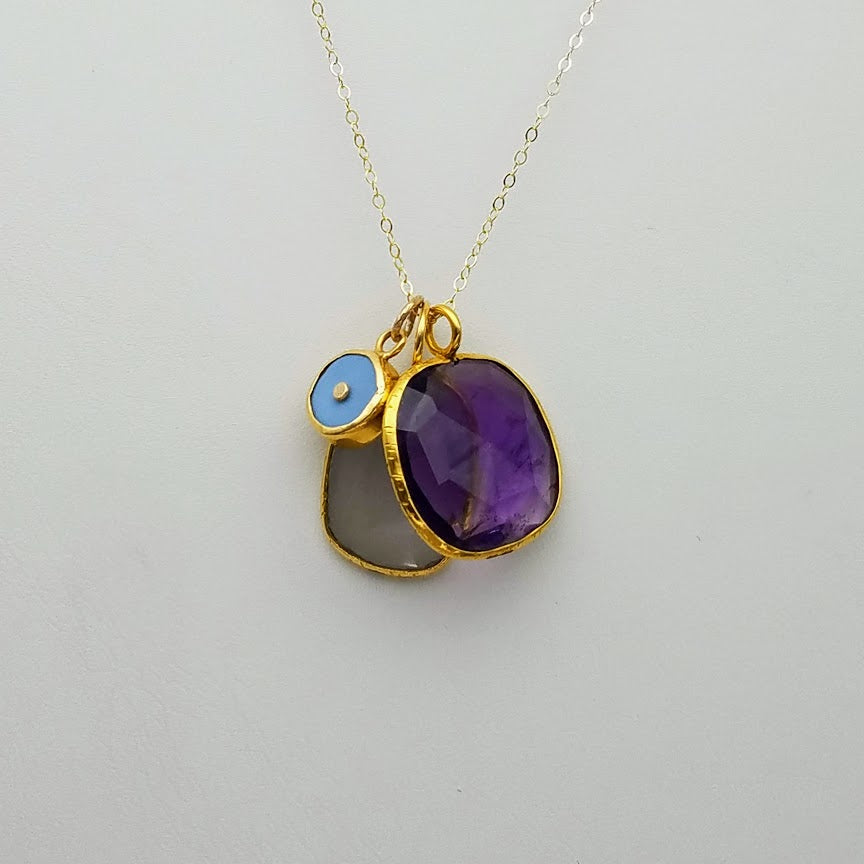 GREY MOON AMETHYST GOLD NECKLACE