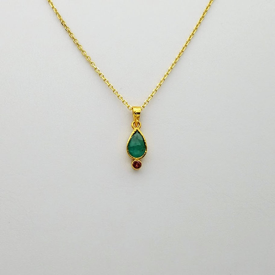 EMERALD/TOURMALINE GOLD NECKLACE SONIA TONKIN