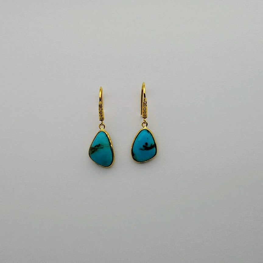 DIAMONDS TURQUOISE EARRINGS SONIA TONKIN