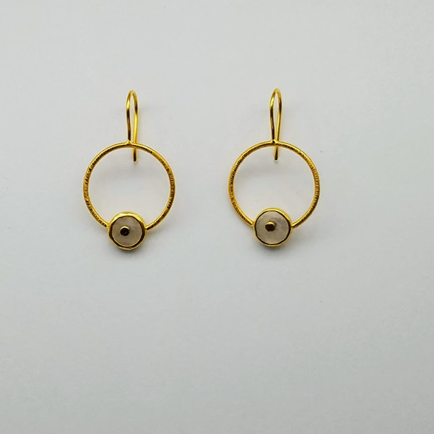 ROUND MOONSTONE SIGNATURE GOLD EARRINGS