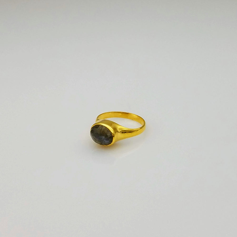 LABRADORITE DOME GOLD RING