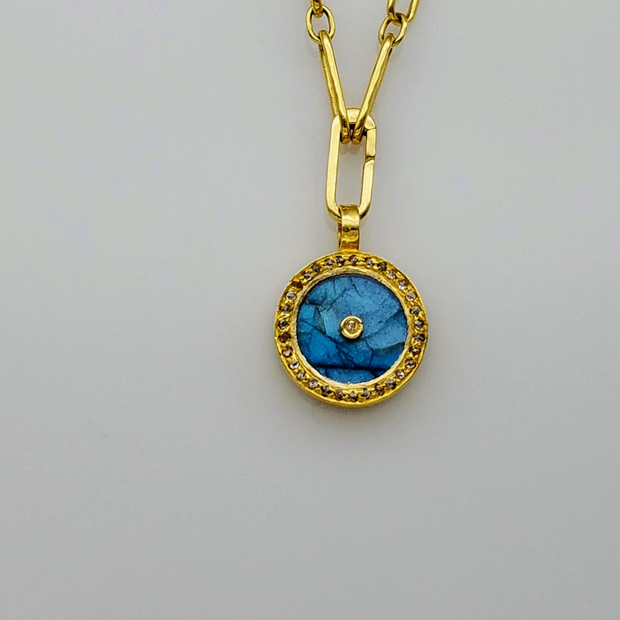 LABRADORITE MOONSTONE GOLD LINK NECKLACE