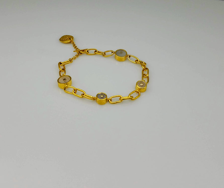 GOLD LINKS MOONSTONE SUN BRACELET
