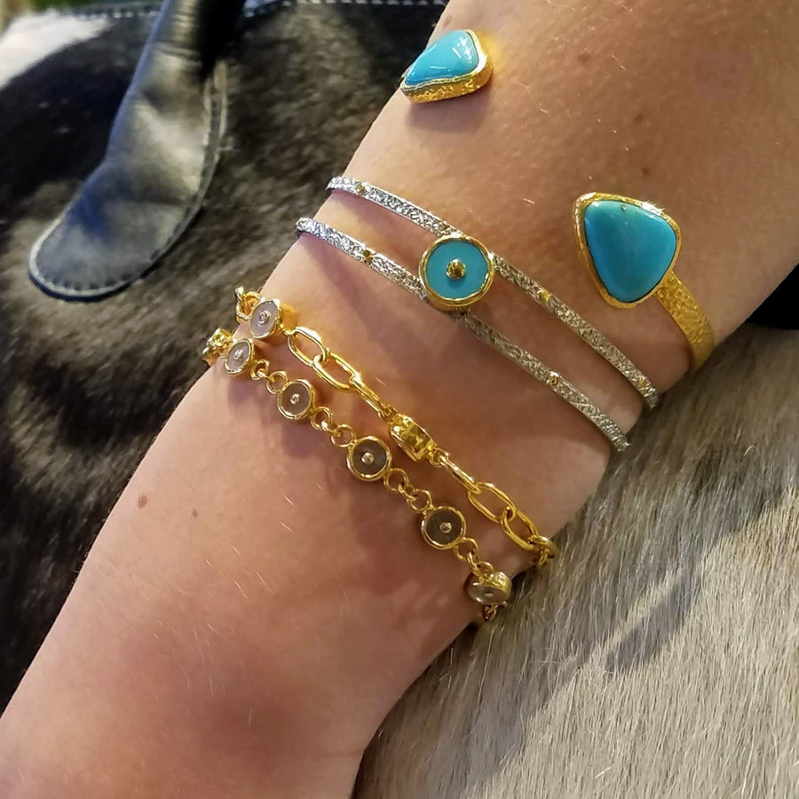 TURQUOISE OPEN GOLD BANGLE