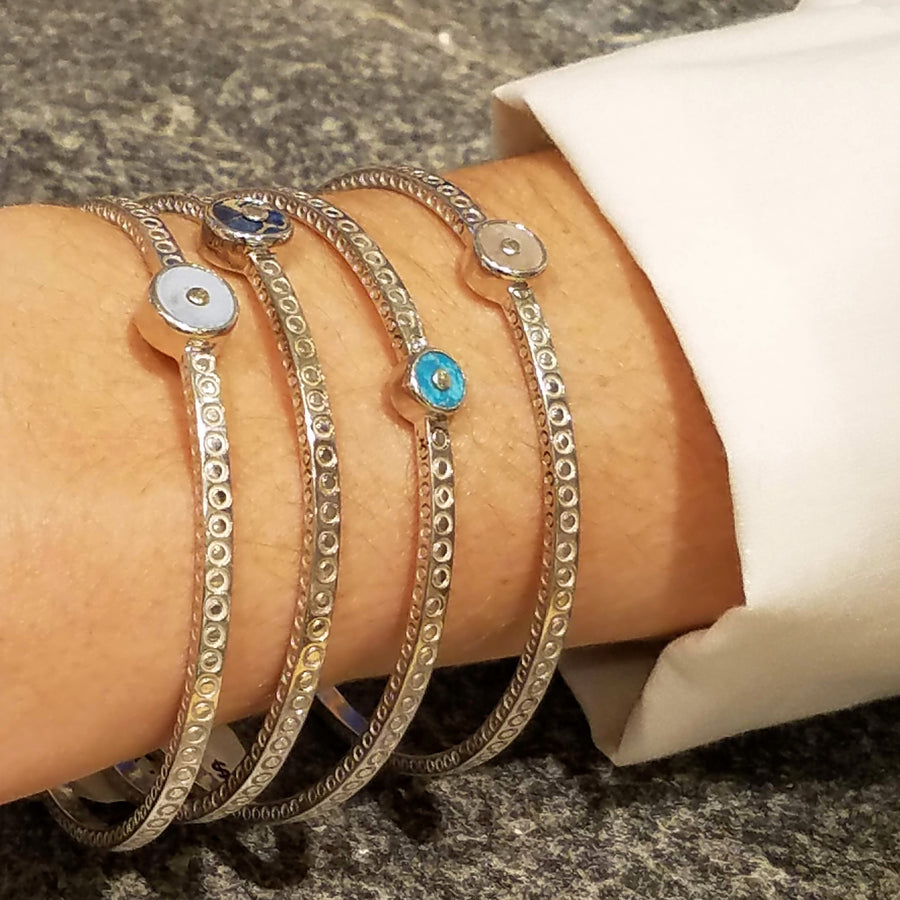 GEMSTONES SILVER SIGNATURE BANGLE