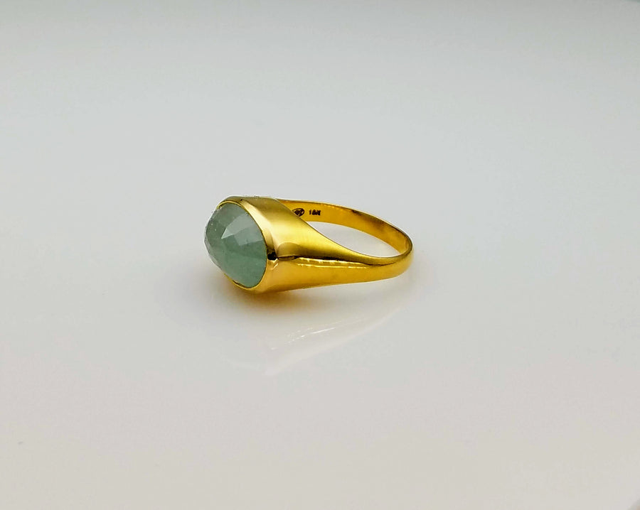 AQUAMARINE DOME 18 KT GOLD RING SONIA TONKIN
